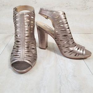Karl Lagerfeld Rennes Metallic Block Heel Sandal